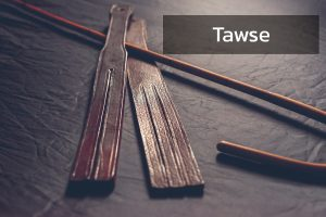rattan cane and leather tawse for punishment